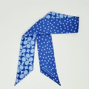 Coach Silk Scarf Twilly Blue Polka Dot Reversible